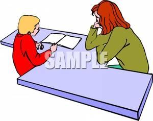 300x237 Student Helping Teacher Clipart