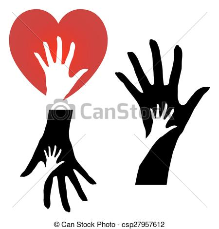 450x470 Set Of Three Different Helping Hands Icons On A White Vector