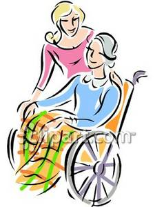 225x300 Woman Helping A Wheelchair Bound Lady Clipart Picture