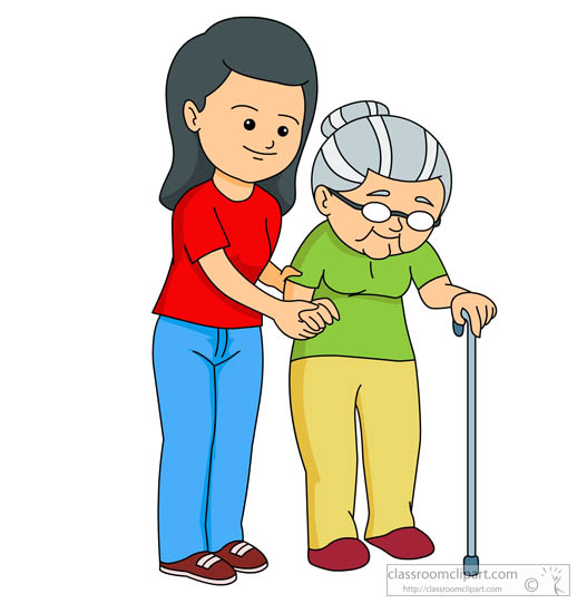 527x550 Helping People Clipart Woman Helping Elderly Lady To Walk Clipart