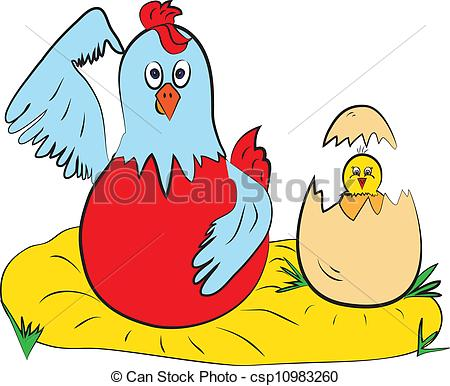 450x386 Chick Hen Color Page Clip Art Vector
