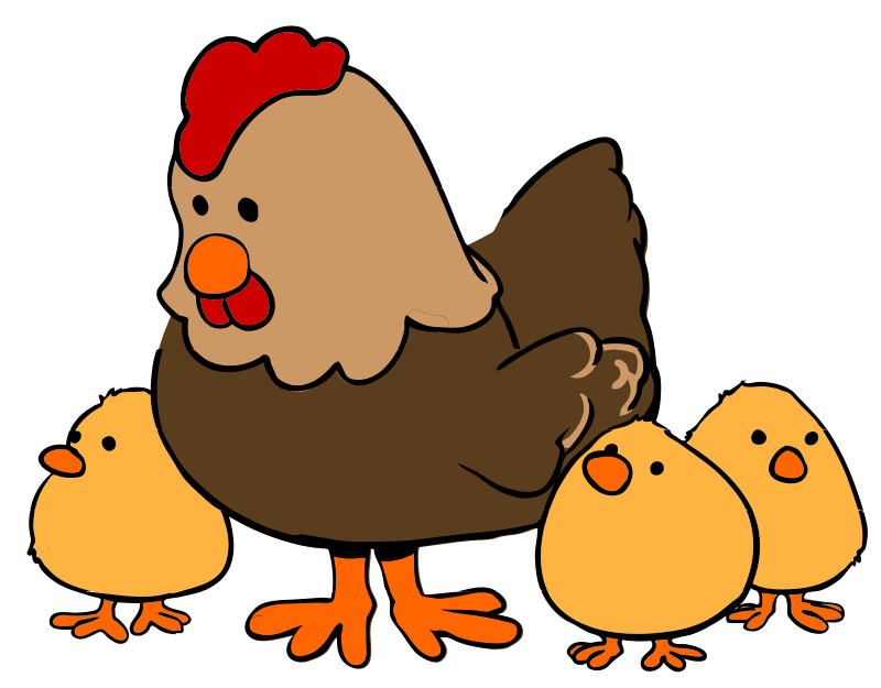 800x625 Free Clipart Hen And Chicks Cartoon Style Qubodup