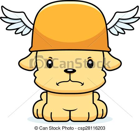 450x421 Cartoon Angry Hermes Puppy. A Cartoon Hermes Puppy Looking