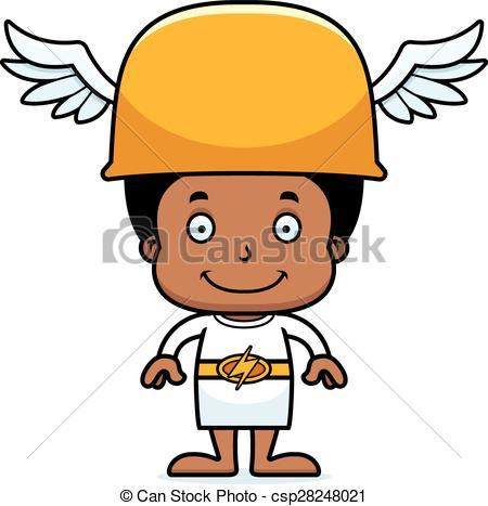450x467 Cartoon Smiling Hermes Boy. A Cartoon Hermes Boy Smiling. Vector