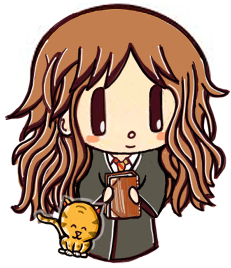 450x522 How To Draw Cute Chibi Hermione Granger And Crookshanks With Easy