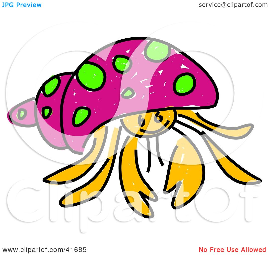1080x1024 Clipart Illustration Of A Sketched Pink Hermit Crab By Prawny