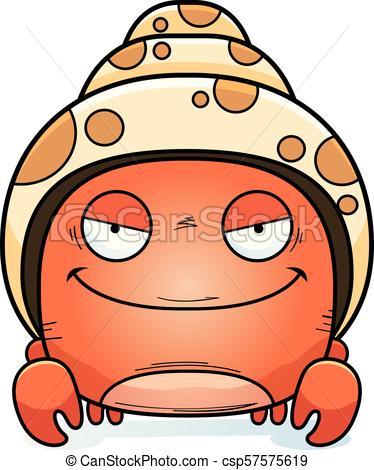 374x470 Evil Little Hermit Crab. A Cartoon Illustration Of An Evil