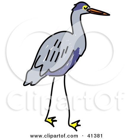 450x470 Clipart Illustration Of A Gray Heron With A Blue Belly By Prawny