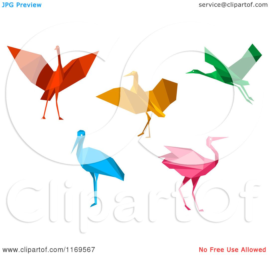 1080x1024 Clipart Of Colorful Origami Heron Stork Or Cranes