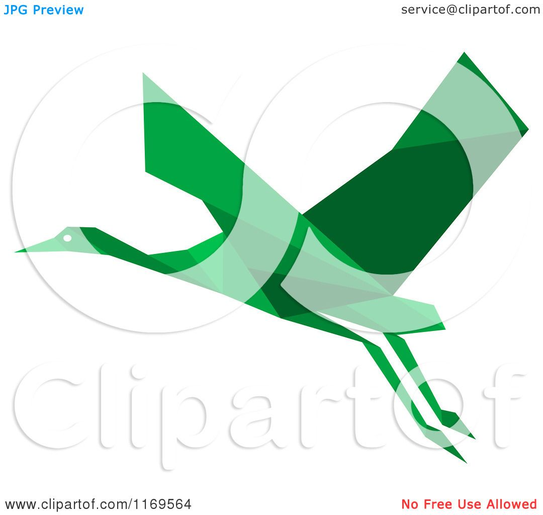 1080x1024 Clipart Of A Flying Green Origami Heron Stork Or Crane 2