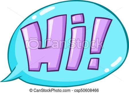 450x326 Hi Word. Speech Bubble With Hand Drawn Hi. Word Lettering Clip