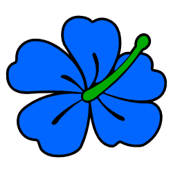 250x250 Blue Hibiscus Flower Clip Art Free Borders And Clip Art