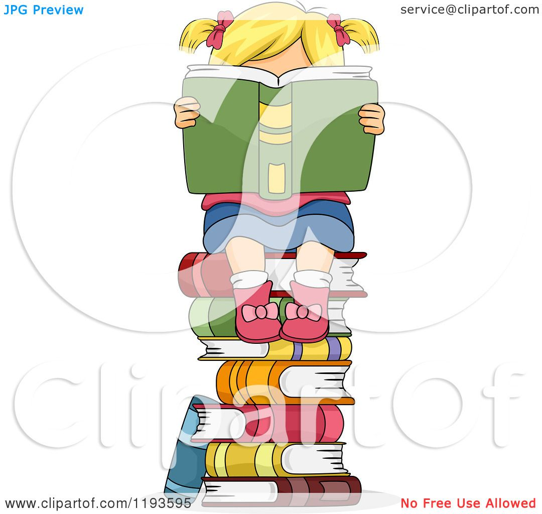 1080x1024 Cartoon A Blond Girl Hidden Behind A Book On Top A Stack