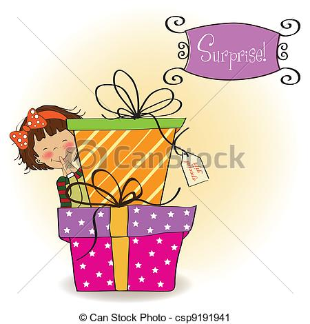 450x470 Cute Little Girl Hidden Behind Boxes Of Gifts. Happy Vector