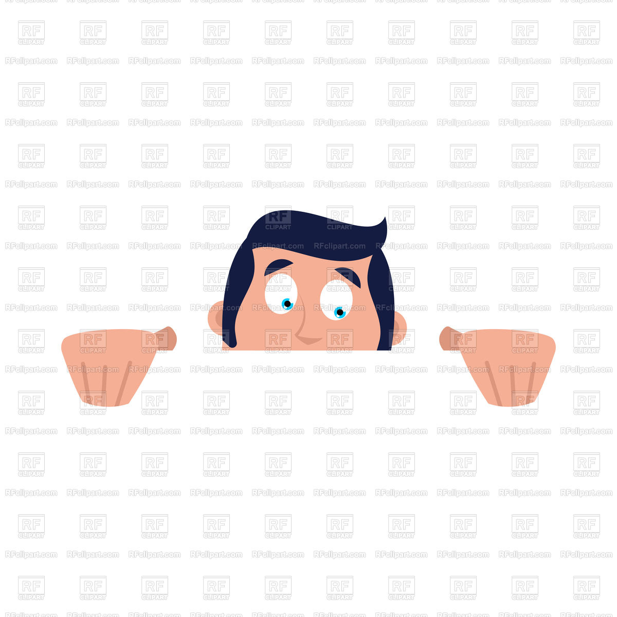 1200x1200 Guy Hidden Looks Out Royalty Free Vector Clip Art Image