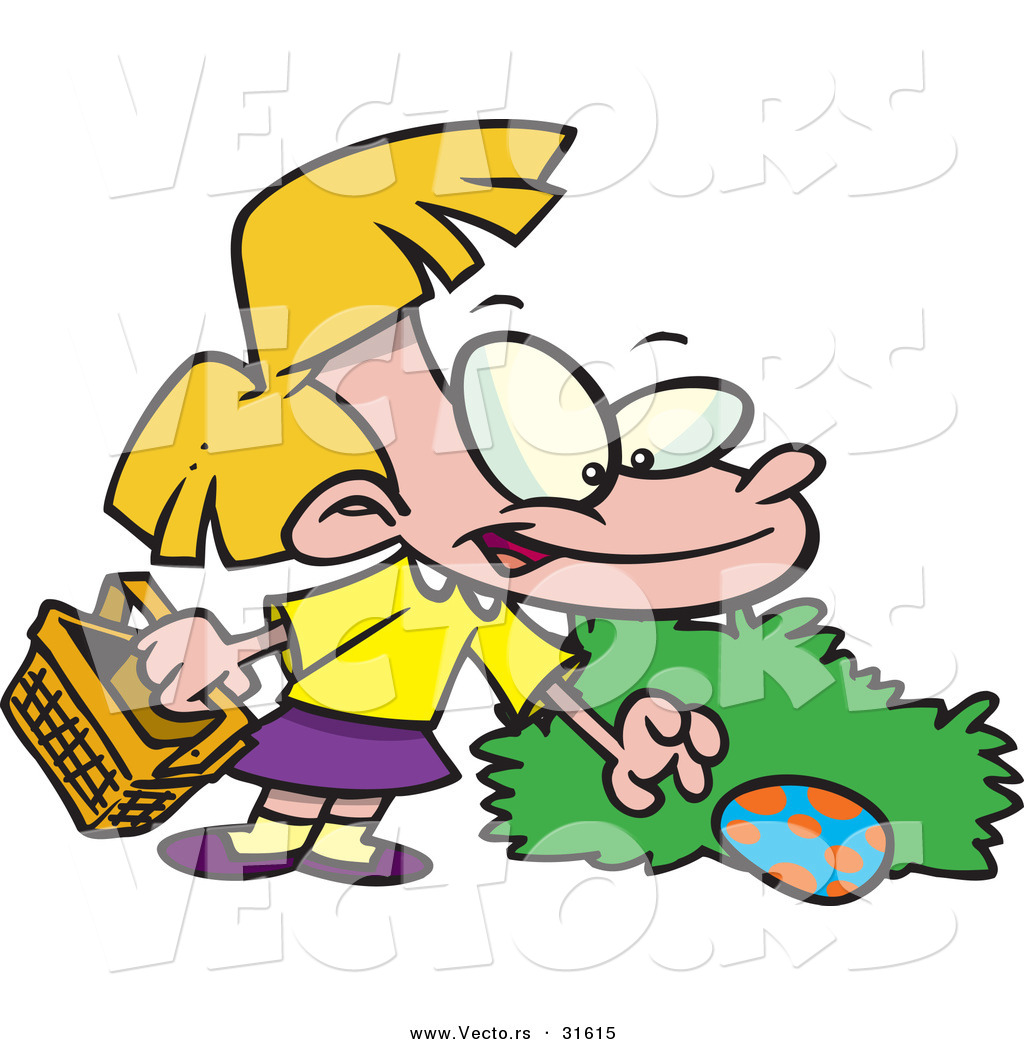 1024x1044 Vector Of A Cartoon Girl Finding A Hidden Easter Egg Behind A Bush