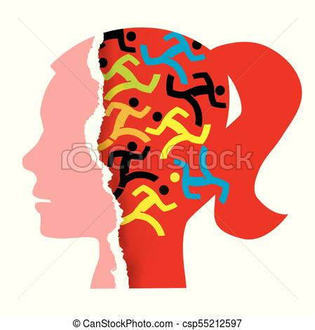 449x470 Woman Hidden Stress Concept. Stylized Female Head Silhouette