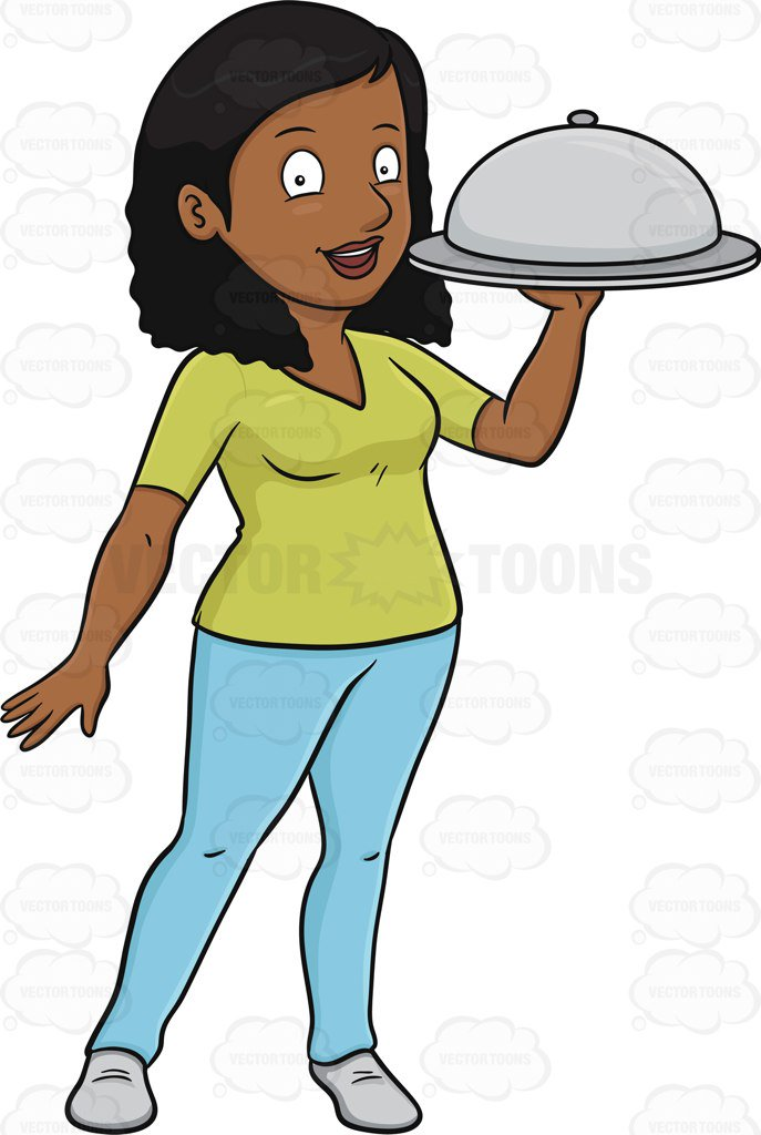 687x1024 A Black Woman Carrying A Surprise Food Hidden Under The Dish Cover