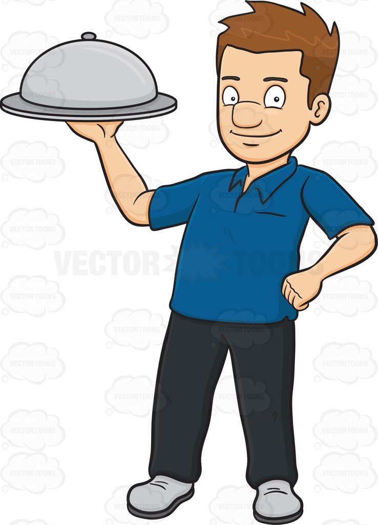738x1024 A Man Carrying A Surprise Food Hidden Under The Dish Cover Cartoon