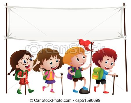 450x357 Banner Template With Kids Hiking Illustration Eps Vectors