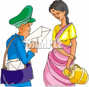 300x293 Clipart Image The Mailman Delivering A Letter To A Hindu Woman