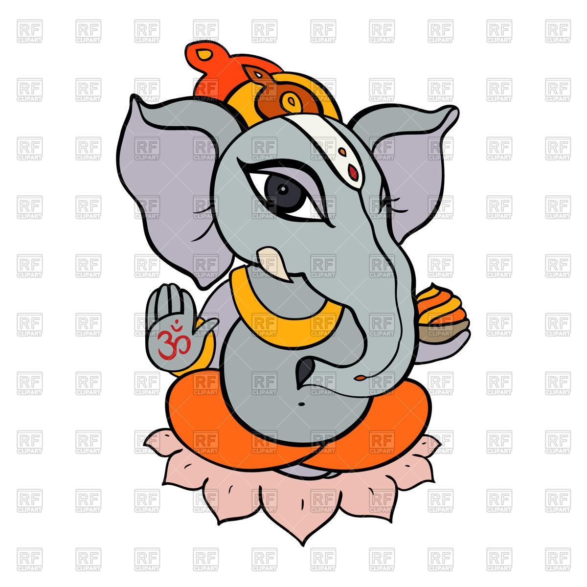 1200x1200 Hand Drawn Hindu Ganesha Royalty Free Vector Clip Art Image