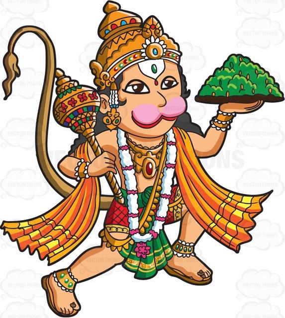 573x640 The Hindu God Hanuman Cartoon Clipart Vector Toons