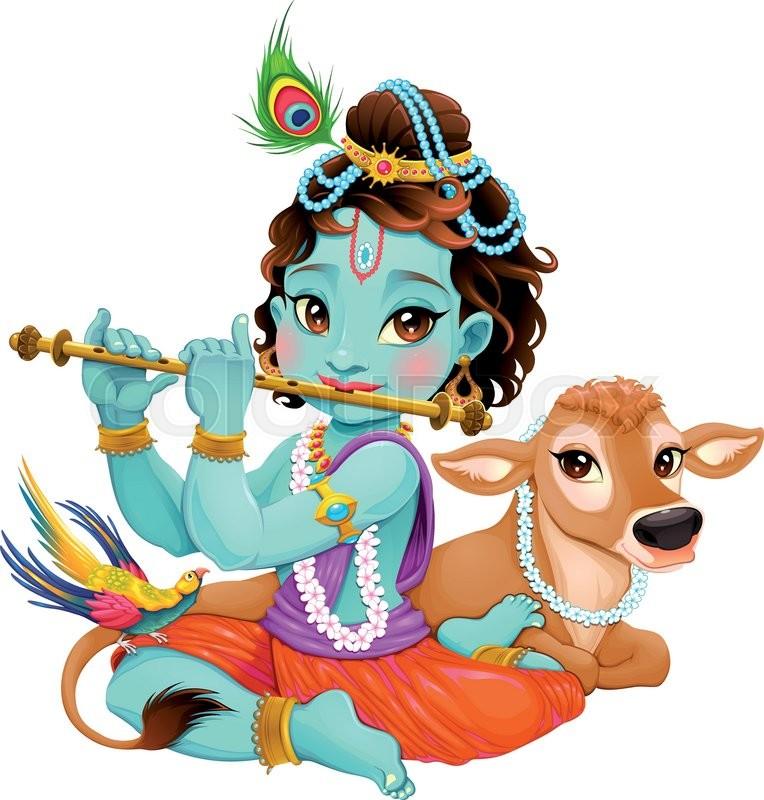 764x800 Baby Krishna With Sacred Cow. Vector Cartoon Illustration Of Hindu
