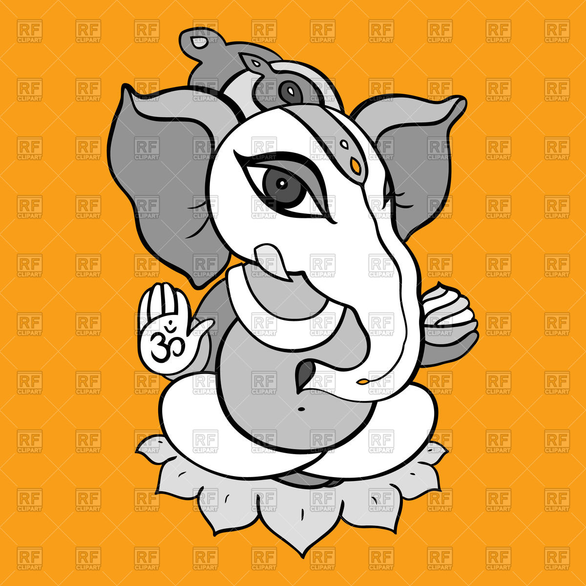 1200x1200 Cartoon Hindu God Ganesha Royalty Free Vector Clip Art Image