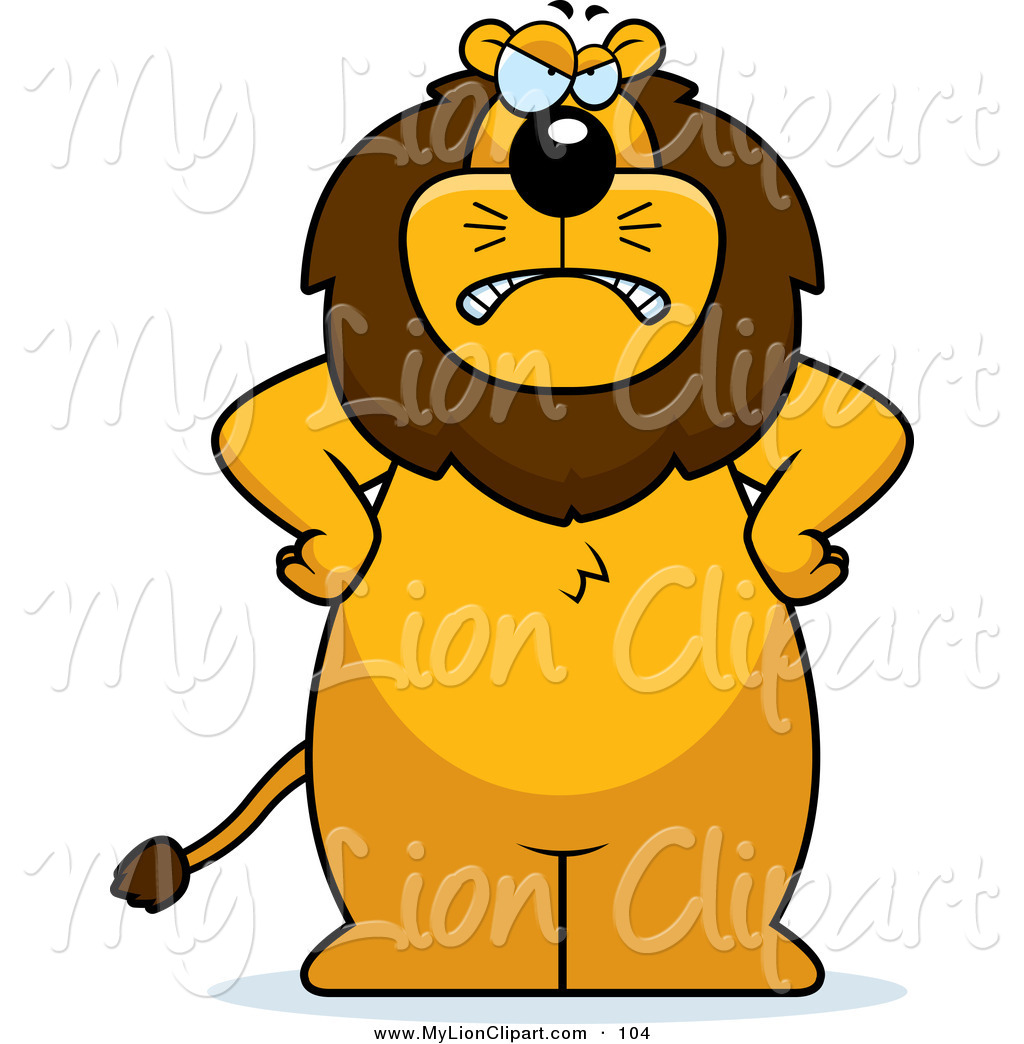 1024x1044 Clipart Of A Frowning Mad Lion Standing With His Hands On His Hips