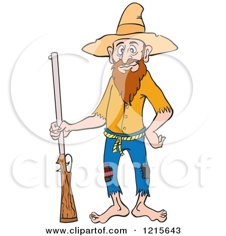 450x470 Clipart Of A Hillbilly Man Standing With A Rifle And A Hand On His