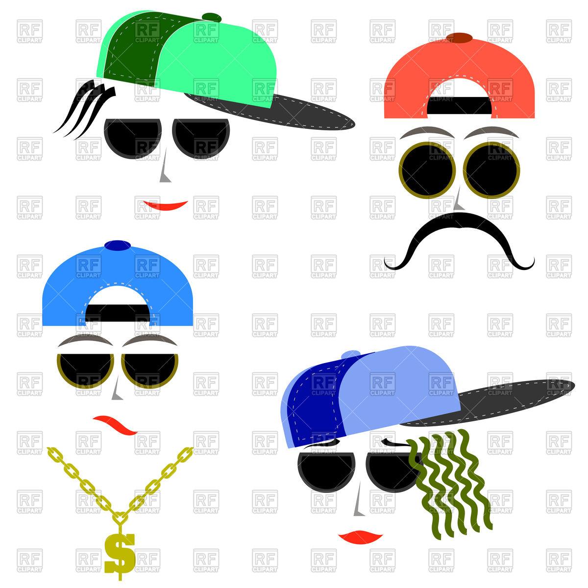 1200x1200 Hip Hop Boys Faces Royalty Free Vector Clip Art Image