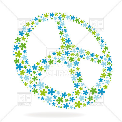 400x400 Peace Hippie Sign Made Of Flowers Royalty Free Vector Clip Art