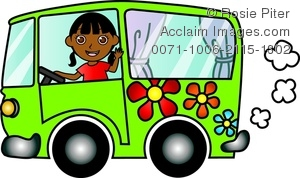 300x178 Clip Art Image Of An African American Girl Driving A Green Hippie