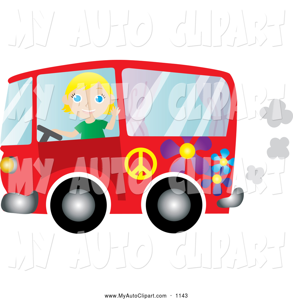 1024x1044 Clip Art Of A Friendly Blond Woman Driving A Red Floral Hippie Bus