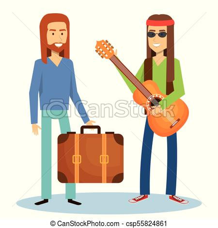 450x470 Hippie People Design. Hippie Men With Guitar And Suitcase Clip