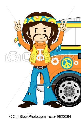 318x470 Hippie Boy Amp Van. Cute Cartoon Flower Power Hippie Boy