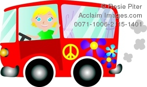 300x178 Clip Art Illustration Of A Blonde Girl Driving In A Red Hippie Bus