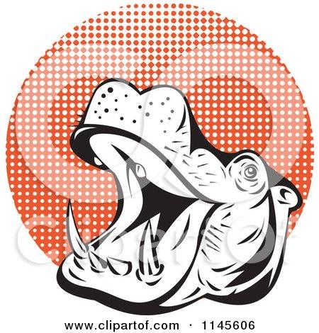 450x470 Clipart Of A Retro Roaring Hippo Over A Landscape