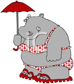 309x350 Cartoon Of A Lady Hippo Wearing A Bikini