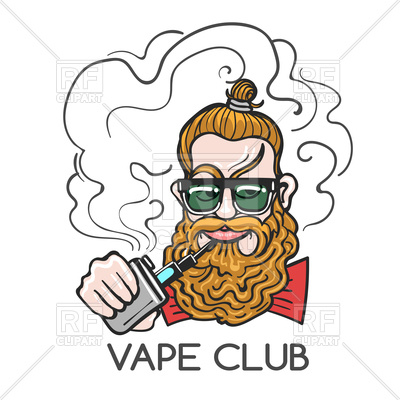 400x400 Hipster Smoking E Cigarette Drawn In Cartoon Style Royalty Free
