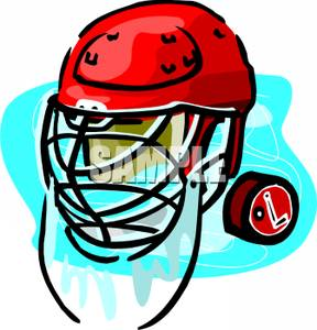 288x300 Art Image A Red Hockey Helmet And Puck