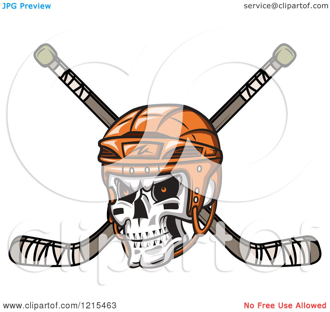 1080x1024 Clipart Of A Grinning Skull With An Orange Hockey Helmet Over