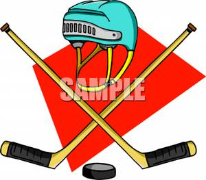 300x263 Crossed Hockey Sticks With A Puck And Helmet Clip Art Image