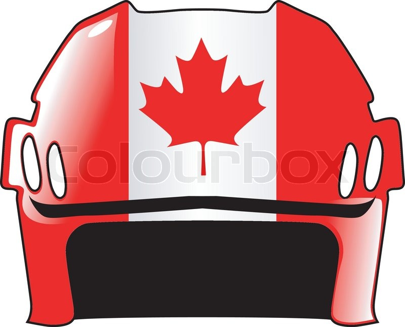 800x646 Hockey Helmet In Colors Of Canada Stock Vector Colourbox