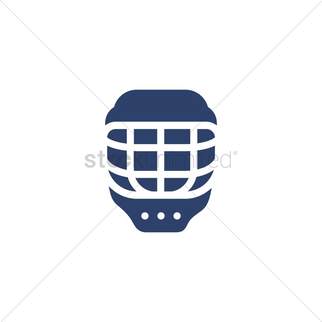 1300x1300 Ice Hockey Helmet With Cage Vector Image