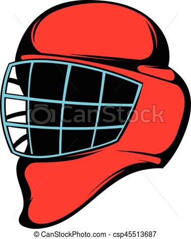 377x470 Red Hockey Helmet With Cage Icon, Icon Cartoon. Red Hockey