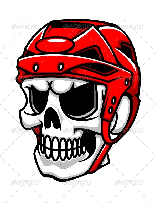 590x786 Skull In Hockey Helmet By Vectortradition Graphicriver