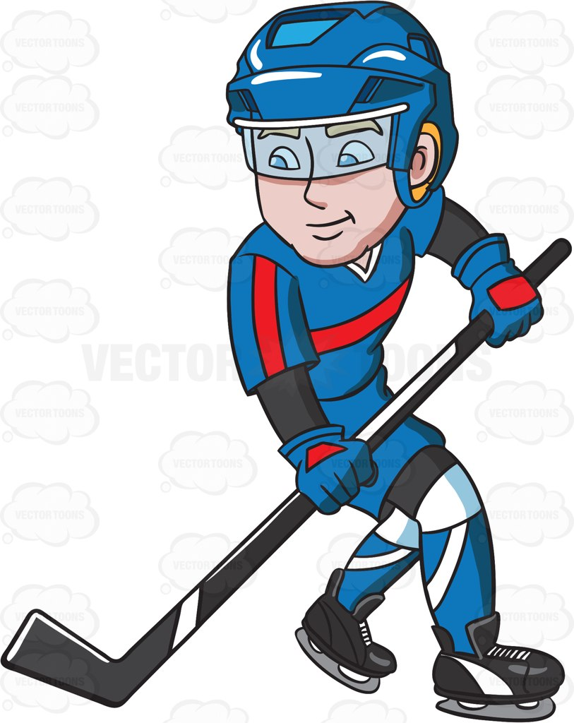 813x1024 A Hockey Player Getting Ready To Pass The Puck Cartoon Clipart