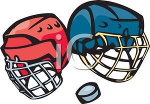 300x208 A Pair Of Hockey Helmets And A Puck